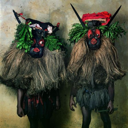 Phyllis Galembo, Creek Town Youth Group Ekpo Masquerade, Calabar, Nigeria, 2005, Ilfochrome, 30 x 30 inches